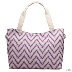 Miss Lulu London L1515S - Miss Lulu stílusos csíkosd bevásárló táska táska lila