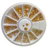 Nail-Art Szegecs tárcsában arany színben 2-5mm bordázott