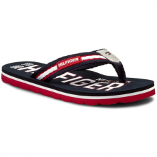 Tommy Hilfiger Vietnámi papucsok TOMMY HILFIGER - Marlin 5D FB56820847 Midnight/Tango Red/White 403