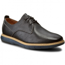 Clarks Félcipő CLARKS - Flexton Plain 261193167 Black Leather