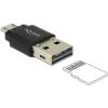 DELOCK USB 2.0 Micro SD kártyaolvasó fekete OTG
