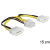 DELOCK 2 Molex Power 4pin -> Power 8pin M/F tápkábel 0.15m