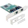 DELOCK PCI-E x1 10/100/1000Mbps Dual port hálózati kártya low profile