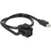 DELOCK Displayport mini F/M Keystone modul 0.5m 110° fekete