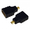 LogiLink HDMI micro D -> HDMI M/F adapter fekete