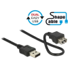 DELOCK Easy-USB M/F adatkábel 0.2m ShapeCable fekete