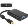 DELOCK Displayport mini -> VGA Jack stereo 3,5mm M/F adapter 0.21m fekete