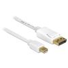 DELOCK Displayport mini -> Displayport M/M video jelkábel 7m fehér