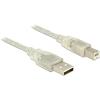 DELOCK USB 2.0-s kábel A-típusú csatlakozódugóval > USB 2.0-s, B-típusú csatlakozódugóval 2 m