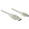 DELOCK USB 2.0-s kábel A-típusú csatlakozódugóval > USB 2.0 Mini-B csatlakozódugóval 2 m, áttetsző