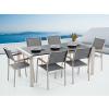 Beliani Kerti bútor szett - Polírozott fekete gránit asztallap 180 cm - 6 db. szürke textil szék - GROSSETO
