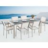 Beliani Égetett fekete kerti bútor - gránit asztallap 180 cm - 6 db. fehér textil szék - GROSSETO