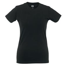 RUSSEL Női póló, hosszított, vékony fazonú, fekete