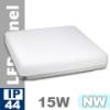 IP44 LED panel falon kívüli - négyzet (15 Watt)  természetes feh