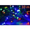 Karácsonyi LED világítás 10m - színes, 100 dióda