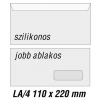 SilverBall Boríték LA4 szilikon JOBB ABLAK 45x90mm 110x220mm  <1000db/ d