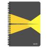 """Leitz Spirálfüzet, A5, kockás, 90 lap, laminált karton borító, LEITZ """"Office"""", szürke-sárga"""