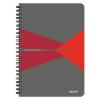 """Leitz Spirálfüzet, A5, kockás, 90 lap, PP borító, LEITZ """"Office"""", szürke-piros"""