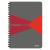 """Leitz Spirálfüzet, A5, kockás, 90 lap, laminált karton borító, LEITZ """"Office"""", szürke-piros"""