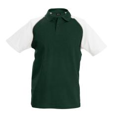 KARIBAN galléros póló, forestgreen/fehér