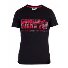 GORILLA WEAR Sacramento V-Neck T-Shirt Black/Red