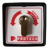 Proteco RS015 Kulcsos kapcsoló, műanyag ház, kétállású, rugós (impulzusos), egy záró érintkező, a kulcs nélkül nem lehet szétszedni