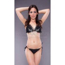 Regina's Desire Fekete Hálós Bikini Szett Swarovski Kristályokkal