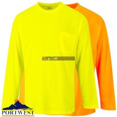 Portwest S579Day-Vis hosszú ujjú póló, zsebbel