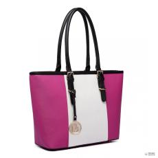 Gant E1661-Miss Lulu London Center csíkos Medium bevásárló táska állítható fogantyú táska Plum