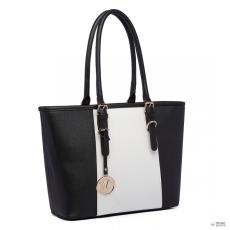 Gant E1661-Miss Lulu London Center csíkos Medium bevásárló táska állítható fogantyú táska fekete