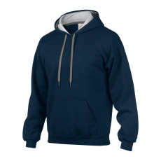 GILDAN pulóver bélelt kapucnival, sötétkék/szürke
