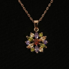 BAMOER Jewelry Vörös arannyal bevont színes virágos köves nyaklánc