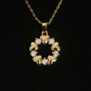 BAMOER Jewelry Arannyal bevont nyaklánc szíves és köves medállal