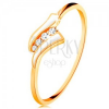 585 sárga arany gyűrű - két fehér hullám, cirkóniás sáv, fénylő szárak