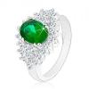 Fényes gyűrű ezüst árnyalatban, csiszolt átlátszó cirkóniák, sötétzöld ovális