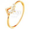 585 sárga arany gyűrű - fénylő sáv, apró cirkóniák