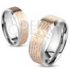 Acél gyűrű ezüst és réz színben, Miatyánk imaszöveg angol nyelven, 6 mm