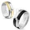Fényes gyűrű ezüst és arany színben, bevágások, átlátszó cirkónia, 6 mm