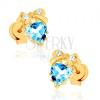 585 arany fülbevaló - kék topáz szív masnival