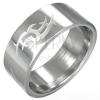 Fényes acél gyűrű - matt törzsi szimbólum