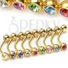 Aranyozott szemöldök piercing cirkóniával