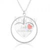 Nyakék 925 ezüstből, körvonal, szív piros szívecskével és felirattal