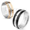 Fényes acél gyűrű, fekete és ezüst szín, felirat, átlátszó cirkónia, 8 mm