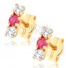 Bedugós fülbevaló 9K sárga aranyból - átlátszó cirkóniák, piros rubin