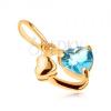 375 arany medál - ovális kontúr, fényes szív, szív kék topázból