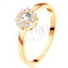 Gyűrű 14K sárga aranyból - csillogó virág kerek átlátszó cirkóniákkal