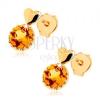 Bedugós fülbevaló 9K sárga aranyból - kicsi, kidomborodó szív, kerek sárga citrin