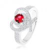 Gyűrű 925 ezüstből, szívkörvonal keresztezett vonalakkal, rózsaszín cirkónia