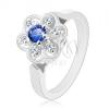 Gyűrű ezüst színben, csillogó átlátszó virág sötétkék középpel