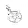 Medál - pentagram karikában, 925 ezüst